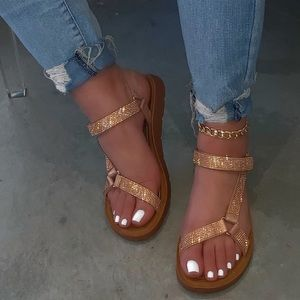 Shoes - Rose Gold Velcro Ankle Strap Flat Sandals